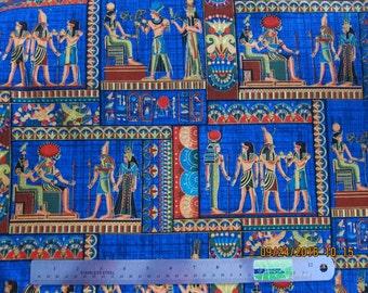 EGYPTIAN FABRIC Timeless Treasures RARE Egyptian Luxor Block Scenes Blue 1997 - 1 Yard