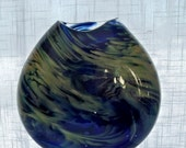 Hand Blown Art  Glass Flat Sided Midnight Blue And Beige Colored Vase