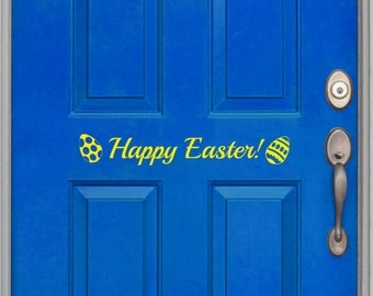 Happy Easter, front door decal, holiday vinyl, three options, eggs, bunny, butterfly, removable spring decal