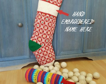 Customized Knitted Christmas Stockings Red White green, Fair Trade Knit Christmas Stockings, Handmade Christmas Stocking, knit xmas Stocking