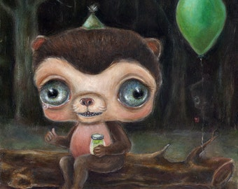 Sad Bear Birthday Party Print, Big Eye Art, Pickles, Matted Art Print, Creepy Cute Nursery Art, Lowbrow Art, Pop Surrealism, Friendship art