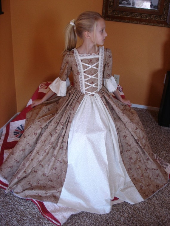 Custom Child Girl Williamsburg Colonial Dress By