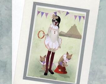 Art Greeting Card & Envelope - Circus Clown - Piglet Art - Piglet Parade
