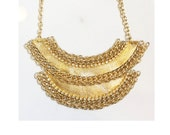 Leather Chain and Rhinestone Necklace - The Ilycia Gold - Costume Jewelry Boho Chic Unique Women Trendy Handmade Flocktails Beach