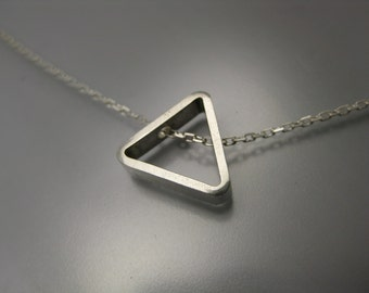 triangle necklace, geometric necklace, sterling silver necklace, triangle charm, sliding charm necklace, recycled silver, eco-friendly