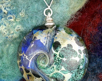 SRA Handmade Lampwork Glass Pendant ~ Lentil Bead ~ Deep Water ~ Sea Blues ~ Organic Fine Silver Texture ~ Sterling Silver