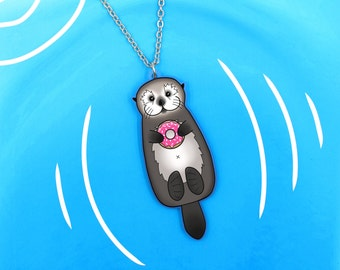 SALE Regularly 19.95 - Sea Otter with Donut Necklace - Cute Otter Holding Doughnut with Little Paws