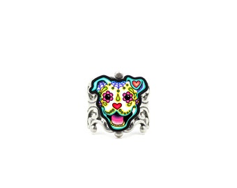 Smiling Pit Bull Ring - The Original Day of the Dead Pitbull Sugar Skull Dog Adjustable Ring