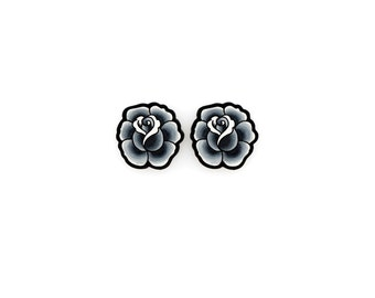 Black and Grey Vintage Rose Earrings - Tattoo Style Post Earrings