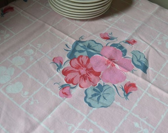 """Vintage Pink & Teal Sweet Peas Flowers Printed Cotton Tablecloth 45"""" x 49"""""""