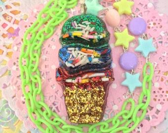 Green Ice Cream Necklace
