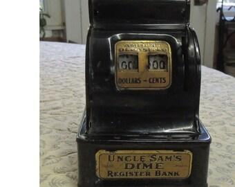 Vintage Uncle Sam 's Dime Register Bank, One Slot Bank, Antique Cash Register Bank - REDuCED