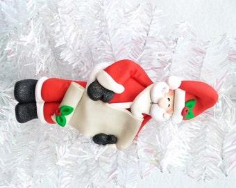 Personalized Santa Ornament - Santa with List Ornament - Santa Collectible - Nice List Ornament - Naughty List - Santa Collector - 815