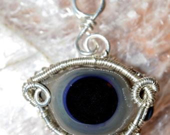 Wire Wrapped Eyeball Pendant - Unique Handblown Glass