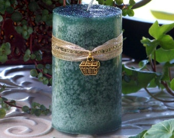 """GOLDEN TREASURE CHEST™ Charmed """"Old European Witchcraft""""™ Green Pillar Candle"""