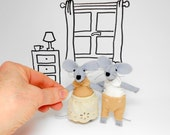 Stuffed mouse couple in matchbox gift Family Twins gift animals felt fiber art sewing mr and mrs wedding ornament  just married ornament