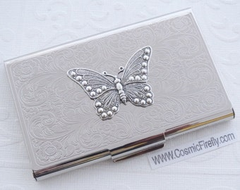Silver Butterfly Business Card Case Vintage Style Steampunk Gothic Victorian Scroll Pattern Metal Card Holder Mother's Day Gift For Women