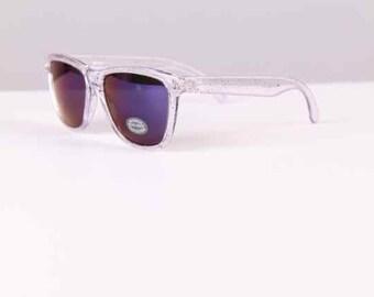 vintage sunglasses 1980s 1990s wayfarer surfer beach style neon mirror lenses new/old stock