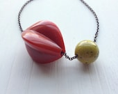 vintage remixed lucite necklace - hens and chicks necklace - brass chain