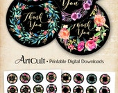 "1.5 inch printable ""THANK YOU WREATH"" stickers print-it-yourself digital collage sheets downloadable clip art graphics for jewelry gift box"