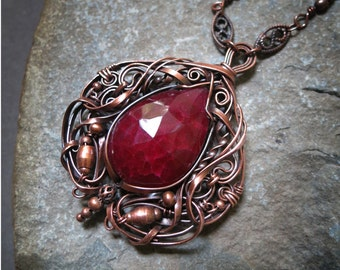 Big Ruby and Copper Pendant