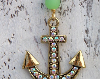 Sale Anchor Necklace Gold Rhinestone Beach Jewelry Recycled Sea Glass Beaded Nautical Gold Anchor Pendant Green Recycled Glass Boho Necklace