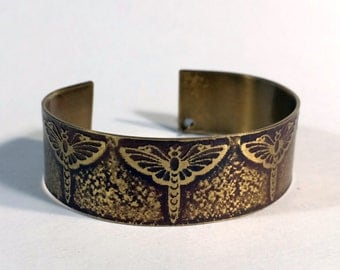 Dragonfly Bracelet Etched Brass Cuff Dragonflies