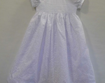 Zoe cotton circle eyelet christening, blessing, baptism gown