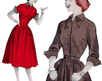 Rockabilly Swing Full-Skirted Shirtdress! Vintage 1950s Butterick Sewing Pattern 6265, Teen Age Casual: Wing Collar and Cuffs, Size 12