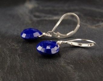 Lapis earrings, blue lapis drop earrings in sterling silver