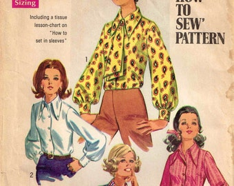 1960s Blouse Size 10 Pointed Collar Ascot Misses Vintage 1960s  Simplicity 8299 Sewing Pattern Size 10 Bust 32.5