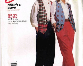 Oversized Vest Pleated Pants Sewing Pattern McCalls 6079 8593 Misses Mens Size M L XL Bust Chest 36, 38, 40, 42, 44, 46