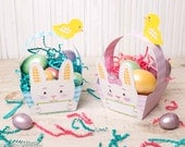Printable Easter Bunny basket instant download rabbit foldable pink girl and blue boy baskets gingham plaid pattern baby easter chick DIY