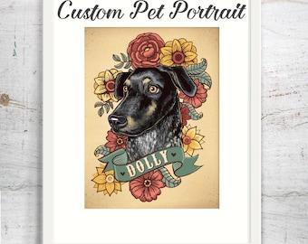 Pet portrait custom dog portrait art print stylized tattoo cat illustration puppy portrait 8x10 print with flowers pet lover gift dog cat