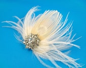 Ivory bridal hair clips off-white hair clip large feather hair clip rhinestones bridal accessories glamorous elegant bride ivory peacock
