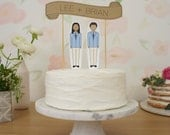 Wedding Cake Topper Set - Custom Cake Banner Kraft / Bride and/or Groom Cake Toppers