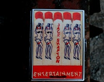 Cigarette Case with Images of Matches in the Shape of Burlesque Women Pin Up Cigarette Case Works Too as a Wallet or Business Card Holder