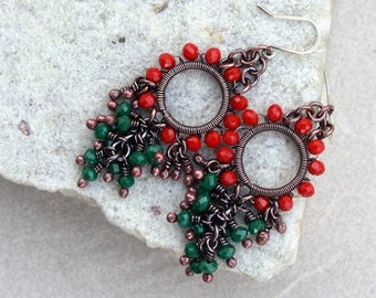 Red and Green Chandelier  Earrings, Wire Wrapped, Boho, Canada, Handmade, Oxidized Copper, STERLING SILVER EARWIRES
