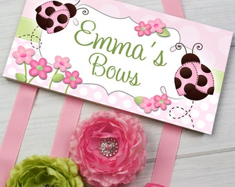 HAIR BOW HOLDER - Personalized Sweet Ladybug HairBow Holder - Bows and Clippies Organizer - Girls Personal Hair Bow and Clip Hanger Hb0022