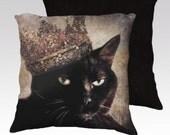 Cat Pillow Pillowcase Black Cat Cat Pillow Cover Decorative Throw Pillows Veterinarians 18x18 or 22x22 Pillow Case - Queen Cora