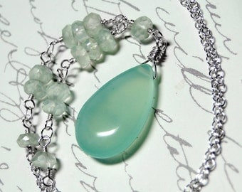 Chalcedony Necklace, Aqua Chalcedony with Sterling Silver - Mint Julep by CircesHouse on Etsy