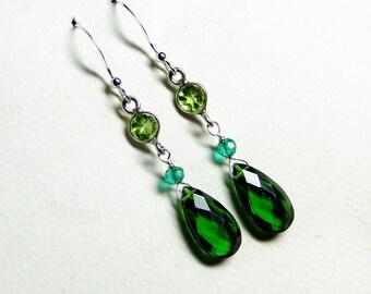 Emerald Quartz Earrings, Peridot Earrings, Green Quartz Earrings, Sterling Silver - Emerald City by CircesHouse on Etsy
