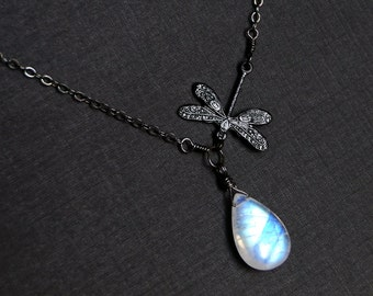 Moonstone Necklace, Dragonfly Necklace, Oxidized Sterling Silver - Moonwings
