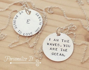 Handstamped Jewelry, Handstamped Charms, Sterling Silver, Handstamped Necklace, Sterling Silver Disc, Personalized Jewelry, 7/8 inch
