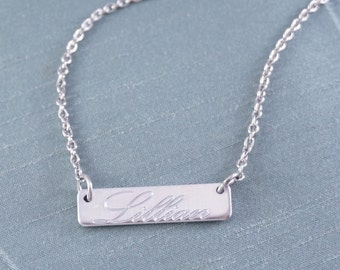 Personalized Bar Necklace, Bar Necklace, Name, Simple Bar Necklace, Bar, Silver Bar Necklace, Bar Name Necklace, Custom, Name Necklace