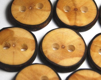 Handmade Natural Wood Buttons, Craft Buttons for Knitting, for Sewing, Maple Wooden Tree Branch Buttons, 1 1/8 Inches, Set of 10
