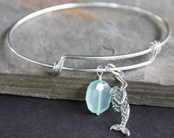 Mermaid Bangle - Adjustable Sterling Silver Bangle - Beach Jewelry -