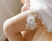 Lace wedding garter, bridal garter, white wedding garter, bridal lace garter, gift for her, lingerie garter - style #480