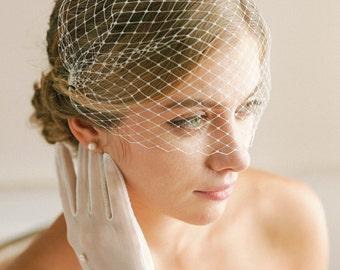 Wedding bandeau veil, bandeau birdcage veil, russian veil, face veil, bridal birdcage veil, crystal veil, rhinestone veil - style 321