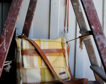 Repurposed Blanket Unisex Music Satchel in Butter, Tan and Green w Tan Kangaroo Leather features